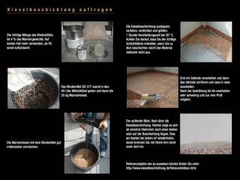 Steinteppich, Kieselbeschichtung, Anleitungen zur Verarbeitung