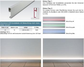 Aluminium-LED-Sockelleiste mit Beleuchtung nach oben