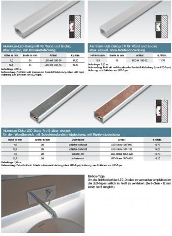 Aluminium-LED-Dekorprofil mit Kantenabdeckung 9 mm