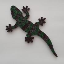 Gecko 26 cm Lang 1 cm stark Braun Gruen Kopf rechts