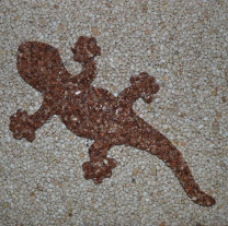 Gecko aus Marmorkiesel Braun 40 cm lang (Kopf rechts)