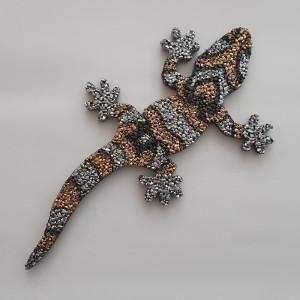 Gecko 26 cm Lang 1 cm stark Gold Silber Kopf links