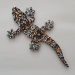 Gecko 26 cm Lang 1 cm stark Gold Silber Kopf rechts